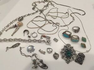 Vintage Sterling Silver Jewelry Lot 165 Grams Scrap Or Not