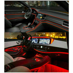 4m Red Led Interior Decorative Optical Fiber Lamp Dash Trim Door Light Strip A