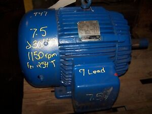 Westinghouse 7 5 Hp Ac Electric Motor 230 460 Vac 254t Frame 1150 Rpm Te 3 Phase