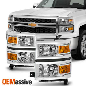 Fit 2014 2015 Chevy Silverado 1500 Headlights L R Replacement 14 15 Lights