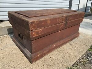 Antique Wood Carpenters Tool Chest Trunk Coffee Table Old Painted Oxblood Box