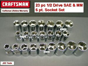 Craftsman Hand Tools 23pc Lot 1 2 Sae Metric Mm 6pt Ratchet Wrench Socket Set