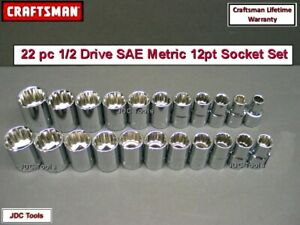 Craftsman Hand Tools 23 Pc Lot 1 2 Sae Metric Mm 6 Pt Ratchet Wrench Socket Set