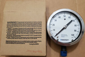 New Ashcroft 45 1009 s 04l 100 4 5 100 Psi General Service Pressure Gauge Nos