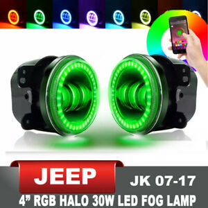 Rgb 4 Halo Led Fog Lights Front Bumper Offroad Lamp For Jeep Wrangler Cherokee