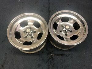 Vintage Pair Polished 15x7 5 Us Indy Style Mags 5 On 4 3 4 Chevy Ford Mopar Van