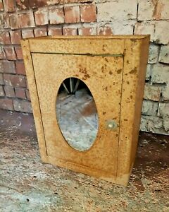Old Vintage Industrial Mirrored Metal Medical Medicine Bathroom Cabinet 1950 S