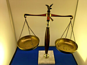 Vintage Brass Legal Lawyer Scale Of Justice With Eagle Finial With Marble Base