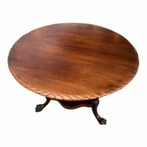 Antique Style Mahogany Round Breakfast Or Dining Table Chippendale Style