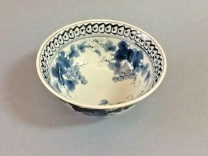 A Blue White Asian Porcelain Bowl W Grapes