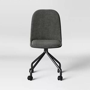 Upholstered Rolling Desk Chair Gray Tweed On Rollers Room Essentials New In B