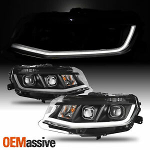 Fit 2016 2018 Chevrolet Chevy Camaro Led Tube Projector Headlights Black Housing