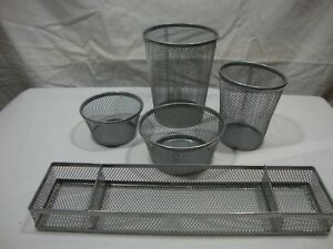5 Piece Office Desk Set shiny Silver Mesh nicely Made brand New