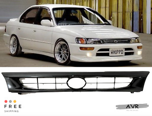Fit For 93 97 Toyota Corolla Black Jdm Factory Style Front Bumper Hood Grille