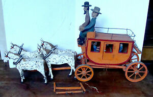 Antique Hand Carved Folk Art Stagecoach Riders W Horses Original Paint