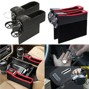 2x Car Seat Side Storage Box Catcher Coin Collectors Universal Pu Leather Holder