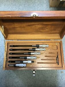 0 6 Mechanical Micrometer Set 1 2 Is Starrett Rest Are Brown