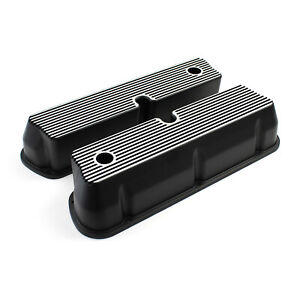 Ford Sb 289 302 351 Windsor Black Aluminum Ribbed Valve Covers Tall W Hole