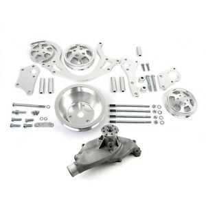 Chevy Bbc 454 Polished Aluminum Serpentine Engine Pulley Short Water Pump Kit