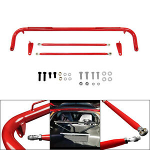 48 Inch Racing Safety Seat Belt Harness Bar Kit Across Tie Roll Red 4 Points Us