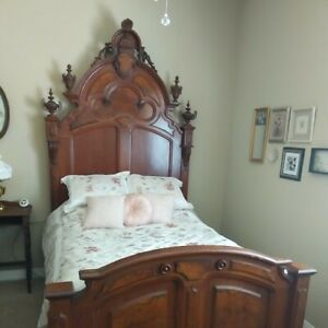 Walnut Victorian Bed And Matching Marble Top Dresser
