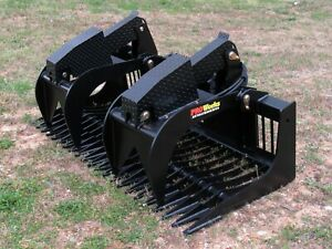 72 Severe Duty Rock Bucket Grapple Bobcat Skid Steer Attachment Ship 199