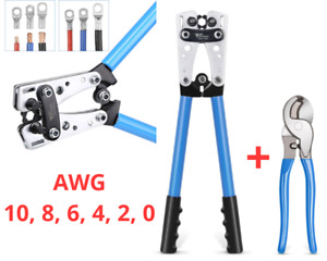 Battery Cable Lug Crimping Tool Ratchet Duty Wire Lugs Crimper With Cable Cutter