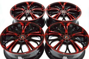 4 New Ddr R25 17x7 5x100 114 3 40mm Black Polished Red 17 Wheels Rims
