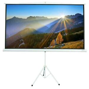 Portable 84 Projector 16 9 Projection Screen Tripod Pull up Matte white