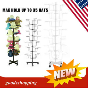 Rotating Hanger Rack 7 Tier Metal Hat Cap Display Floor Stand W 4 Wheel Retail