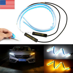 24 Amber Flexible Led Slim Sequential Drl Turn Signal Strip For Headlight 60cm
