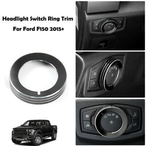 Black Headlight Lamp Switch Knob Decor Ring Cover Trim For Ford F150 2015 2017