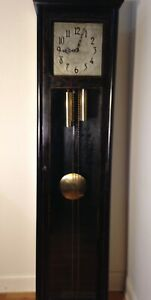 Colonial Grandfather Clock C 1925 Ebonized Hand Painted Gold Leaf Decoration