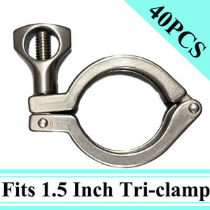 1 5 tri Clamp Clover With Wing Nut Heavy Duty For 50 5mm Od Ferrule Flange 40pcs