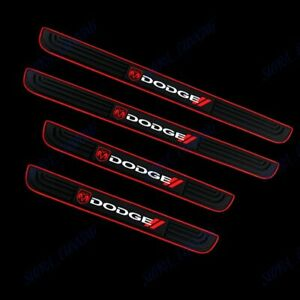 New Black Rubber Car Door Scuff Sill Cover Panel Step Protector For Dodge 4pcs