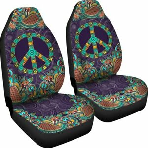 Purple Peace Mandala Set Of 2 Universal Front Seat Covers Protection Gift