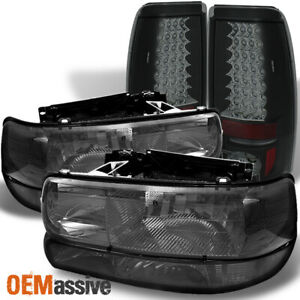 Fits Smoked 99 02 Silverado Headlights Bumper Signal Philips Led Tail Lights