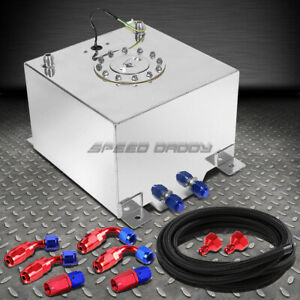 5 Gallon Polished Aluminum Fuel Cell Tank cap level Sender nylon Fuel Line Kit