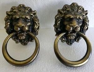 Nice Pair Of Large Vintage Brass Plated Lion Head Drawer Pulls Handles N49e