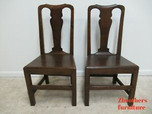 Pair Antique Tiger Oak Dining Room Side Chairs Primitive Chippendale Primitive B