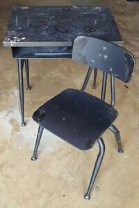 Vintage Steel Wood Child Student School Desk Chair Project Local Pickup Only