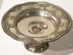 Wallace Vintage Sterling Silver Candy Dish Large 7 Rose Victorian Pattern 925