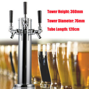 3 Tap Draft Beer Tower Dispenser Kit With Triple Faucet Party Stainless Steel Us