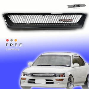 Fit For 93 97 Toyota Corolla Front Grill Jdm Metallic Mesh Touring Wagon Logo