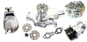 Small Block Chevy Chrome Power Steering Short Water Pump Alternator Compressor
