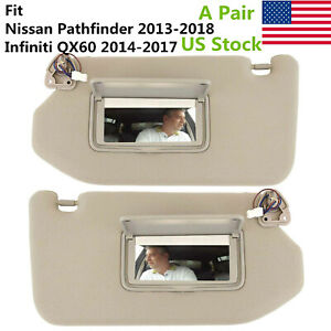 Pair Left Right Sun Visors With Light Fit For Nissan Pathfinder Infiniti Qx60