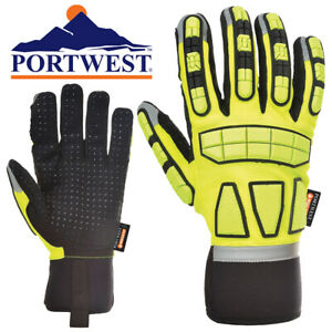 Portwest Insulated Cold Weather Impact Safety Gloves With Pvc Grip Select Size