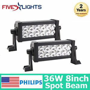 8inch 2x 36w Spot Philips Led Work Light Bar Fit Offroad 4x4wd Suv Truck Boat
