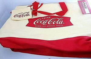 NEW COCA COLA BAG DUFFEL SNEAKER ? TAGS CANVAS TOTE & WRISTLET TAILGATE 19X13X9