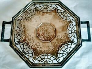 Antique Early Victorian Sterling Silver Plate Webbed Tray Spider Web Pattern